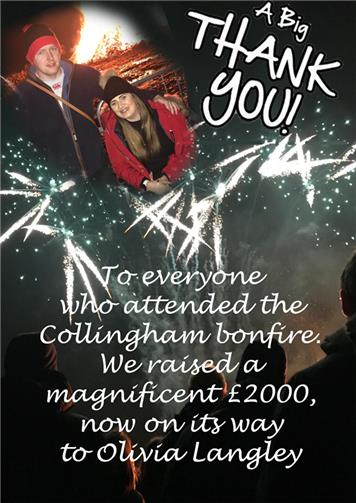 - Thank you from the Collingham Bonfire