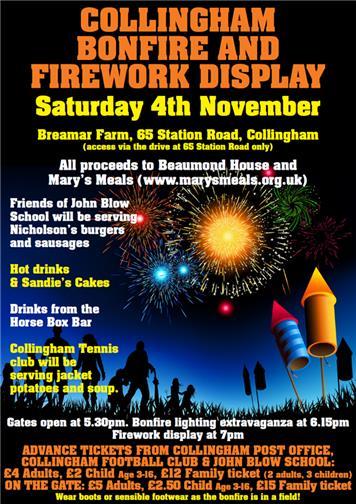 collingham bonfire and firework display collingham parish